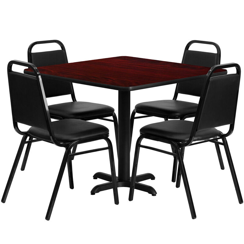 """Restaurant Table Chairs 36"""" Mahogany Laminate with 4 Trapezoidal Back Banquet"""