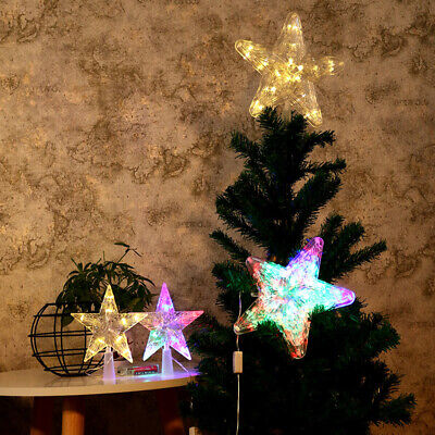 Xmas Ornament Christmas Tree Topper LED Light Up Star Tree Home Party Decor Light Xmas Ornament