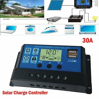 30A 12V 24V Dual USB Solar Panel Battery Charge Controller LCD Regulator Auto US Battery Charging Regulator
