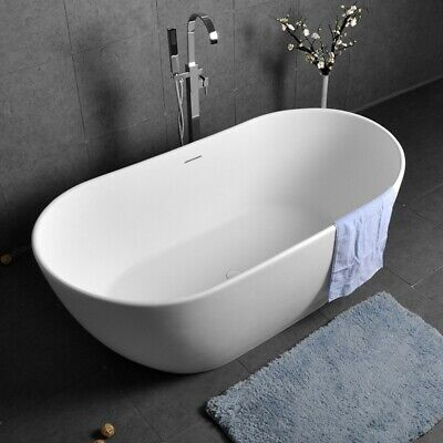 64 Inch Glossy White Oval Tub Stone Resin Soaking Bathtub with Overflow & -