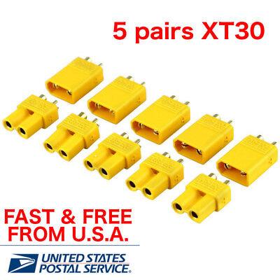 120 Mini Plugs - 5 pairs XT30 Connector Sets Male/Female Mini RC LiPo Plugs USA