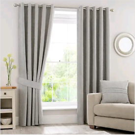 John Lewis & Partners Abstract Beige Grey Blackout Eyelet Curtains | R