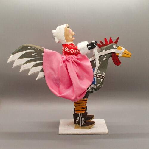 NAVAJO FOLK ART-MRS.CLAUS RIDING A ROOSTER by DELBERT BUCK-NATIVE AMERICAN
