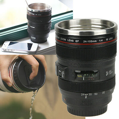 Camera Lens Cup 24 105 Coffee Tea Travel Mug Stainless Steel Thermos   Lens Lid