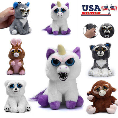 Feisty Toy Soft Plush Stuffed Scary Face Toy Animal With Attitude Key Gifts Xmas (Animal Faces)