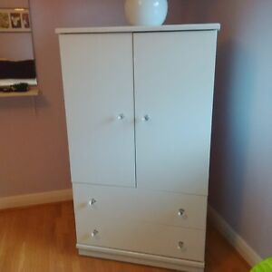 White Bedroom furniture - Armoire, Night table, Desk with Hutch,