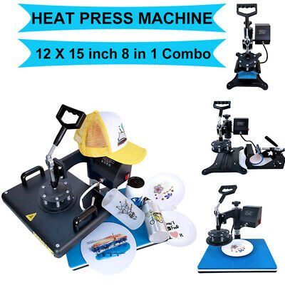 8 In1 Digital Heat Press Machine Combo Transfer Printing T-shirt Mug Hat 12x15