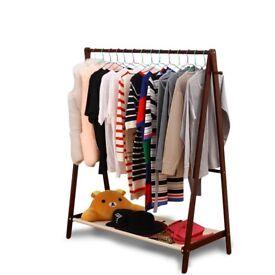 Wood Clothes Rail Stand Wardrobe Shoe Shelves Storage Rack Unit 2 Colors H440B