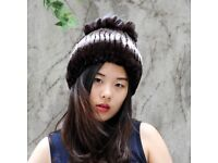 DAYMISFURRY-- Dark Rex Rabbit Fur Lady Beanie Hat