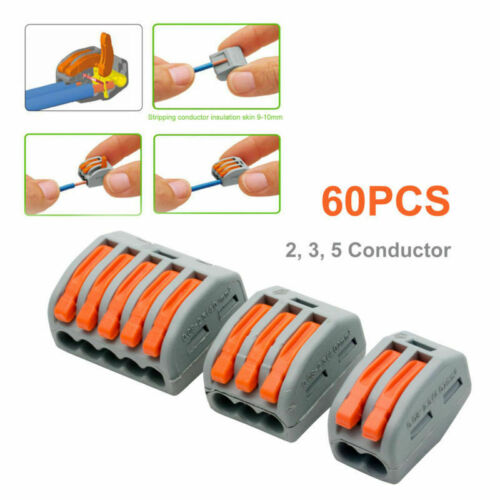 60Pcs Wago 222 Electrical Connectors Wire Block Clamp Terminal Cable Reusable#