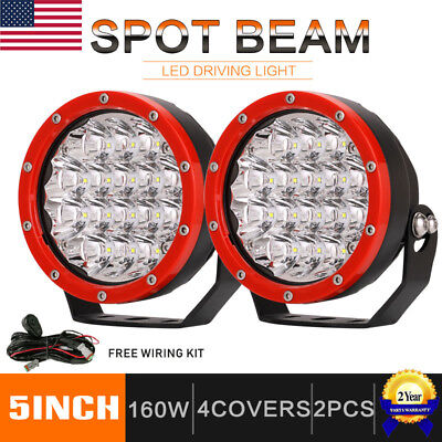 Pair 5inch 160W CREE Round LED Driving Lights Off Road Work Light Spot Jeep Red 10 Spot Accent Light
