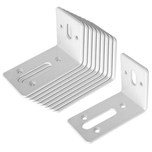 10 Pack White Adjustable Steel L Corner Braces w/ Slot Corner Brace for Mending