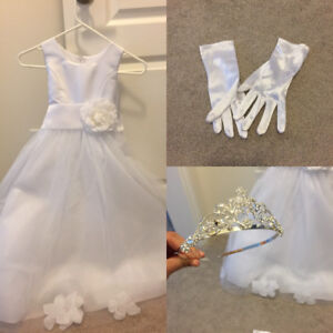 Communion Dress with gloves and tiara.
