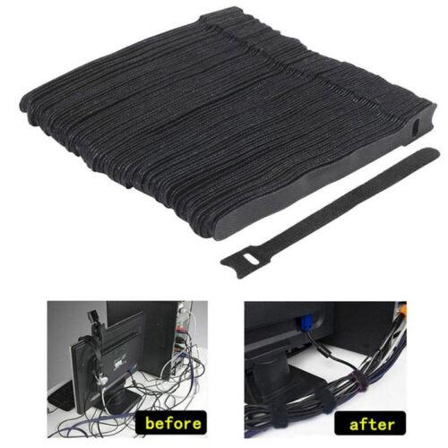 50pcs/set Reusable Nylon Strap Hook and Loop Cable Cord Ties Tidy Organiser