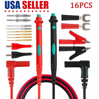 Us 16pcs Test Lead Kit Set Multimeter Leads Probe Replaceable Needle Tips Hot Oz