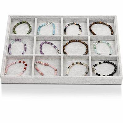 Gray Velvet Jewelry Display Tray 12 Grid Ring Earring Bracelet Organizer Storage