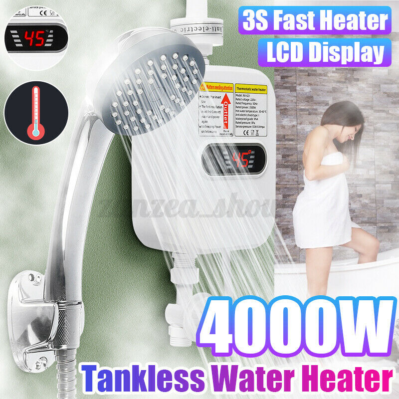 3500W Portable LCD Instant Hot Water Heater Boiler + Shower Nozzle Instant Ho
