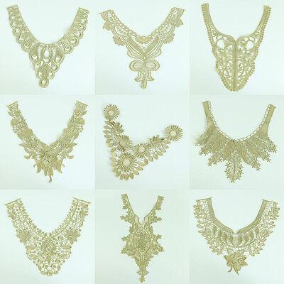 Gold Lace Neckline Collar Applique Trim Venise Bridal Dress DIY Sewing Craft 1Pc - Gold Lace