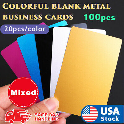 Aluminum Metal Business Cards Mixed Colors 100 Pcs 0.2 Mm Thickness
