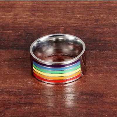 Fashion Gay Lesbian LGBT Unique Stainless Steel Rainbow Striped True Ring