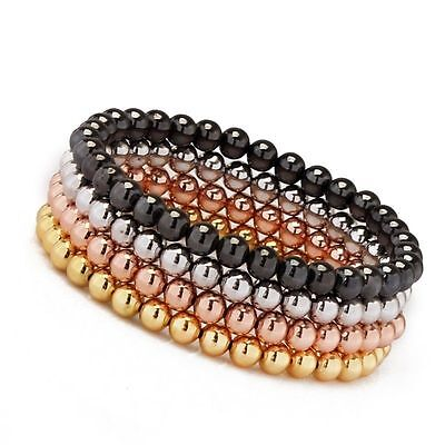 Men's Woman's 18kt Gold Plated Beads Beaded Stretch Bracelet 4 Colors For