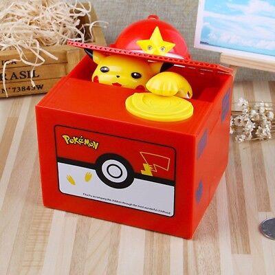 Cute Kids Xmas Gift Toy Pokemon Go Pikachu Coin Money Saving Bank Box