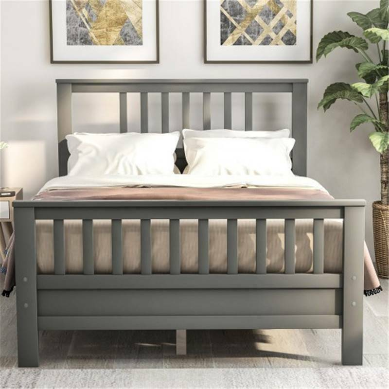 Gray Full Wooden Platform Beds Frame Foundation w/Headboard