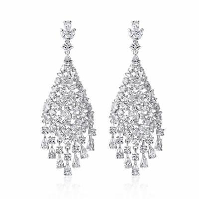 Cubic Zirconia Cluster Earrings - Shiny Silver Tone Sparkling CZ Cubic Zirconia Cluster Large Drop Earrings Fab!