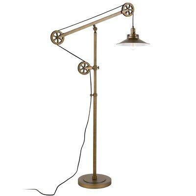 Brushed Brass Wide Brim Pulley Floor Lamp