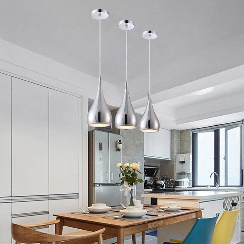 Details About Kitchen Pendant Light Room Silver Lighting Home Ceiling Lights Bar Lamp