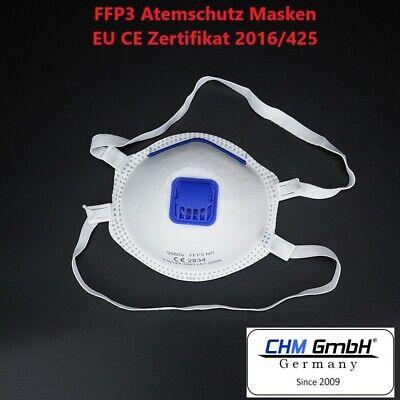 CHM GmbH FFP 3 Mundschutz Maske mit Ventil 1 Stück Gesichtsmaske Top Qualität !!