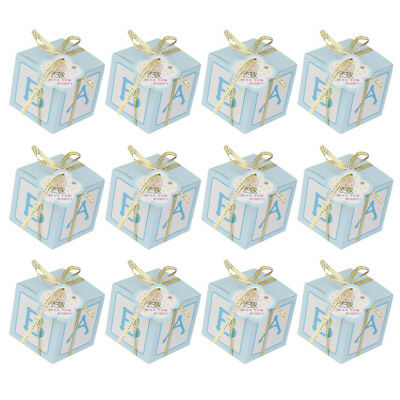 12PCS Baby Shower Favor Gift Candy Sweets Boxes Birthday Party Decor Pink Blue - Baby Shower Sweets