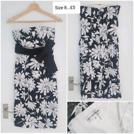 Black/White Floral Party Dress Size 8