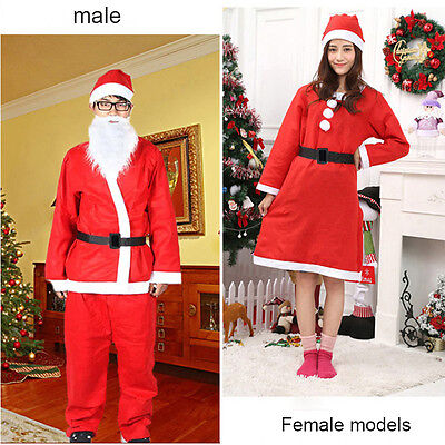 Red Santa Claus Costume for Adults Christmas Xmas Clothes Belt Hat Men Woman (Santa Costumes For Adults)