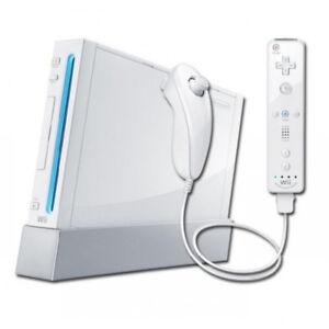 Wii console with accessories and super mario bros!