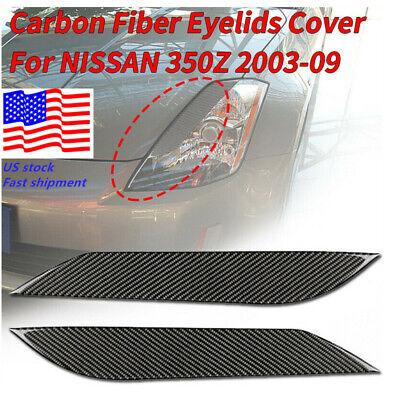US STOCK! CARBON FIBER HEADLIGHT EYE LID EYELIDS COVER FOR NISSAN 03-09 350Z/Z33 Carbon Headlight Covers