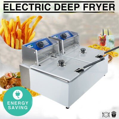 USA Commercial Electric Deep Fryer Tabletop Restaurant Frying W/Basket Scoop 11L