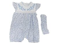 Baby Girls Romper All In One Playsuit with Matching Headband 0/3 3/6 Months