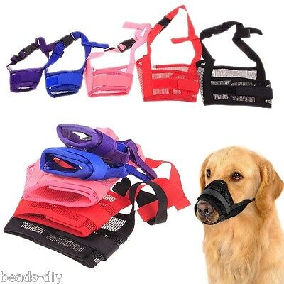 Adjustable Mask - Adjustable Mask For Dog Pet Anti Bark Bite Mesh Mouth  Grooming Chew S/M/L