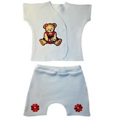 Sweet Teddy Bear Baby Girl Shorts Outfit - 4 Preemie and Newborn Infant Sizes - Teddy Bear Baby Outfit