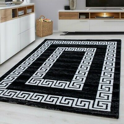 Modern Rug Soft Woven Black White Versace Style Pattern Carpet Mat Small X Large