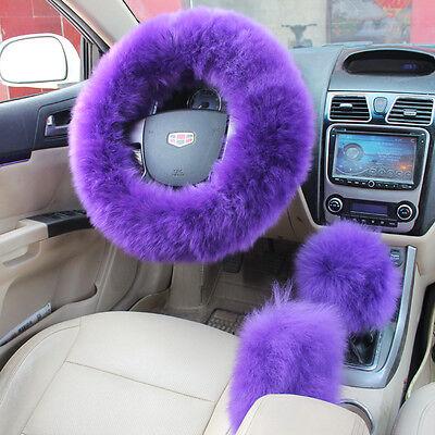 (1Set Long Plush Fuzzy Steering Wheel Cover Purple Wool Handbrake Car Accessories)