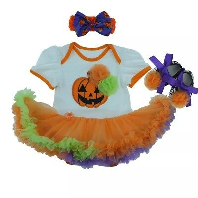 Baby Girls 1st Halloween outfit set Tutu Romper Pumpkin Costume Fancy Dress - Baby Girl Halloween Costumes Uk