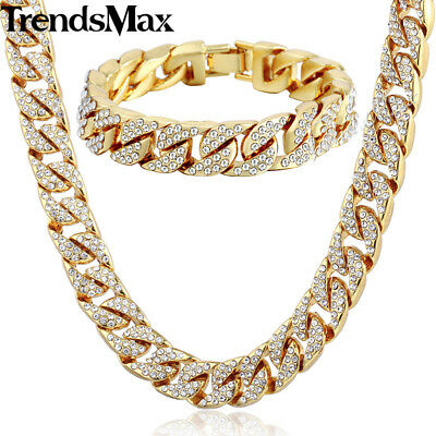 14mm Yellow Gold Filled Necklace Bracelet Set Chain Curb Cuban Mens Hip Hop