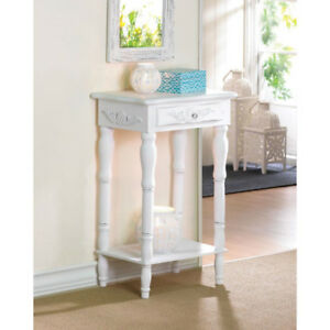 Shabby Elegance Carved White Side Table BRAND NEW