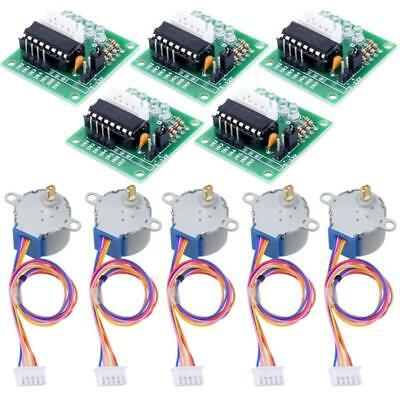 5x 5v 4-phase Geared Stepper Motor 5x Uln2003 Driver Board 28byj-48 For Arduino
