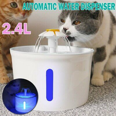 2.4L Automatic Stainless Steel Pet LED Water Fountain Cat Drinking Dispenser