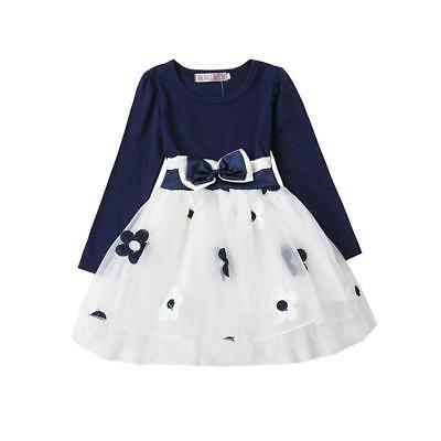 Casual Dress For Girls Cute Floral Pattern Ball Gown Style Fancy Long Sleeve New - Casual Dress For Girls