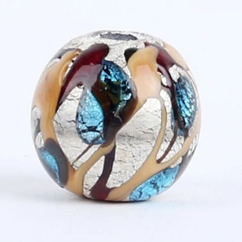 10pcs handmade Lampwork glass  Beads brown blue silver foil round 15mm