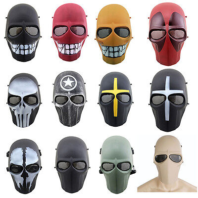 Airsoft Paintball Full Face Protection Skull Masks Outdoor CS Game Tactical Gear